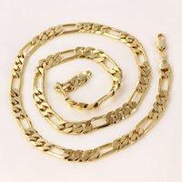 étui en or 24 carats achat en gros de-femmes ou hommes 24k Réel solide or GF figaro chaîne collier 8 mm liens 60 cm trottoir gratuit cadeau cas