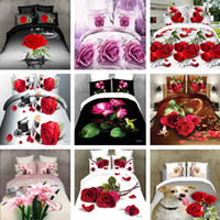 Wholesale King d bedding set red rose sheet set flowers bedclothes Pc Bed Sheet Comforter Cover Pillowcase