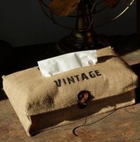 Wholesale Fabrics Tissues Free Shipping - Wholesale- Free Shipping! Vintage Style Linen & Cotton Material Tissue Bag Creativie Fabric Facial Paper Box Storage Bag Hot Selling! S1030