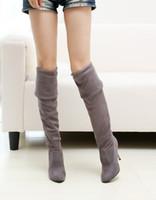 botas de pierna delgada al por mayor-mayorista envío gratuito precio de fábrica vendedor caliente Botas elásticas hasta la rodilla Botas hasta la rodilla Botas hasta la rodilla Botas largas de pierna delgada botas sexy para mujer
