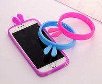 Wholesale Iphone Covers Bumper Purple - Portable Universal 4.0-5.5 inch Screen Multi Rabbit Ear Pattern Ring Silicone Bumper Frame Phone Cover Case for Iphone Samsung