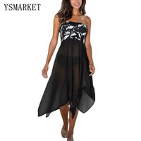 Wholesale Monochrome Dresses - Summer New Sexy Tunic Beach Dress Black White Monochrome Print Sarong Cover Up Hot Irregular Strapless Female Beachwear Q42160