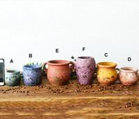 ingrosso cinese fiori pentola-6 PZ-PACK Multi Color Cinese Retro Style Clay Flower Pot per piante succulente Vaso di fiori in terracotta Pot Decorazione del giardino Mini vasi di fiori