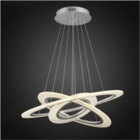 Wholesale Circle Pendant Light - led sliver chandelier lights circle acrylic hanging lights suspension led pendand lights 30 50 70cm stairway pendant lighting fixture