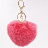 Wholesale Love Dolls Woman - 8cm Love Heart Rabbit fur ball keychain Bag Car Key Rings Purse Charm Pendant Accessories POM Fluffy Keyring Doll