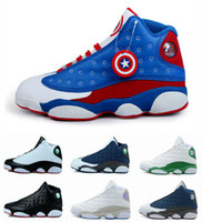 Wholesale America Mid - 2017 Cheap Air Retro 13 Basketball Shoes Men Women Outdoor Original Sneakers Red China Air 13s Captain America Sports Replicas Men's Shoes