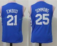 Wholesale Youth Basketball Jerseys - youth #21 embiid #25 ben simmons blue 2017 Basketball Jerseys All Stitched Size S-XL