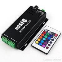 ses kontrolü toptan satış-12 V-24 V 12A Ses Aktif Müzik Denetleyicisi ile Siyah Renk 24key IR Uzaktan Kumanda RGB LED Şerit için 144 W 2 Port Çıkışı