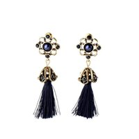 Wholesale Royal Blue Flower Earrings - Retro Fashion Tide Royal Style Atmosphere Antique Rope Tassel Dangle Earrings Factory Wholesale For Women Girls