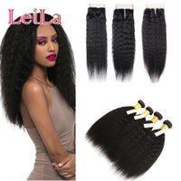 Wholesale coarse straight hair for sale - Peruvian Unprocessed Kinky Straight Bundles with Lace Closure Free Middle Three Part Human Hair Weft Coarse Yaki Full Hair