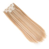 Wholesale blonde hair clip piece - Clips Long Straight Beige Blonde Hair Pieces Synthetic Mega Pad straight Hair Extension Clip-in Full Head