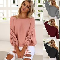 Wholesale Loose Batwing Sweaters For Women - Off The Shoulder Sweaters for Women Batwing Sleeve Female Sweater Loose Party Knitted Pullover Tops RF0098