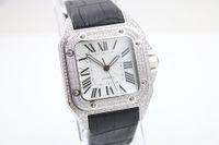 Wholesale Multi Gem - Fashion Classic Brand San Men watches Male White Dial With Diamond Smooth Platinum Bezel Leather Belt Relojo Watch