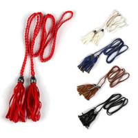 Wholesale Thin Waist Tie Belt - Wholesale- Trendy Women Ladies Braided Belt PU Leather Tassel Self-Tie Thin Waist Rope Belt