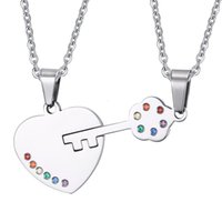 Wholesale Wholesales Rinestones - fashion couple Heart lock couple pendant gay pride staniless steel rinestones chain pendant necklace for lover