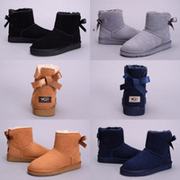 Wholesale Blue Ribbon Fabric - New Arrival WGG Women's Australia Classic tall Boots Women girl boots Boot Snow Winter Grey blue Bow tie boots leather shoes size 5-10