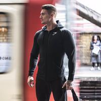 Wholesale Slim Muscle Men - Wholesale-2016 autumn Gymshark Mens Hoodies camisetas pullover hombre coat Bodybuilding fitness jacket Sweatshirts Muscle men sportswear