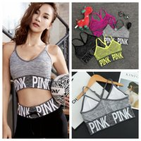 Wholesale Cross Back Bra Sports - Pink Letter Sports Bra Women Cross Strap Back Bra Vs Pink Quick Dry Padded Shockproof Elastic Running Yoga Tops Vest OOA2142