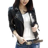 Wholesale Women Short Leather Jackets Wholesale - Wholesale- 2016 autumn women black slim Korean style PU leather jackets sweet bodycon full sleeve zipper femme outwear coat plus size