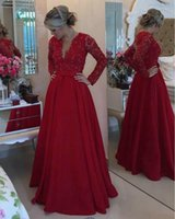 Wholesale Yellow Mother Pearl - Mother of the Bride Vestidos Longos Para Formatura 2017 Long Sleeve Evening Dress Red Satin Long Prom Dress with Pearls