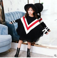 Wholesale assorted wholesale clothes online - Big girls knitting sweater fashion Children assorted color V printed cotton pullover Kids tassel bat jumpers Children princess clothes C1786