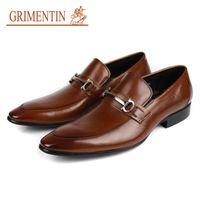 Wholesale Low Heel Dress Shoes Wedding - GRIMENTIN Hot sale Luxury mens genuine leather shoes brand designer slip on black brown Italian formal dress loafers size:38-44 Z998