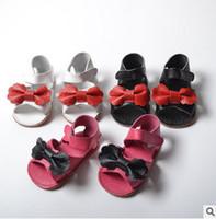 Wholesale Litter Fashion - Litter girls sandals 2017 summer new kids genuine leather sandals children bows princess footwear fashion girl beach shoe baby shoes T4495