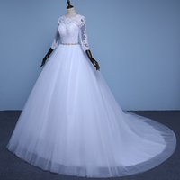Wholesale Three Quarter Sleeve Organza - NE156 Hot Sale Noble Three Quarter Ball Gown Wedding Dresses Simple Lace Appliques Wedding Gowns Cheap Bead Sashes Bridal Dress
