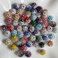 handgemachte lehm perlenkette großhandel-50pcs / lot Mädchen 10MM Halskette Armband Schmuck Charme Klare Kristall gepflasterte doppelte Farbe handgemachte Polymer Clay Perlen
