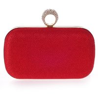 Wholesale Designs Diamond Rings Ladies - Wholesale- Simple design women evening bags finger rings metal day clutches bags with chain purse wedding bags summer lady handbags