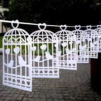 Wholesale Lovebirds Favor - Wholesale- Wedding Engagement Party Birdcage Lovebirds Heart Bunting Banner Garland