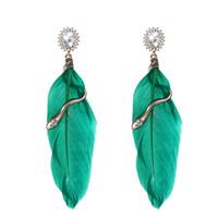 Wholesale Earring Snake 18k - green feather earrings crystal rhinestone long dangle earring women gold plated snake drop ear jewelry pendientes mujer boucle d'oreille