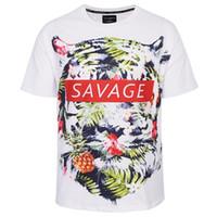 Wholesale Flowers America - 3D T shirts Europe America Fashion T-shirt Men 3d T-shirts Brand Tops Tees Shirts Print Flowers Leaves Savage Tiger T shirt