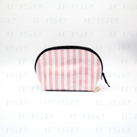 Wholesale Tote Bags Stripped - Fashion brand shell cosmetic case luxury makeup organizer bag beauty toiletry wash clutch purse strip tote vanity pouch boutique VIP gift