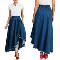 Wholesale Skirts For Clubbing - Spring Summer Women Denim Skirts New Arrivals For Ladies Casual Solid Irregular Skirt All Purpose Style Wholesale New Fashion Daily Club