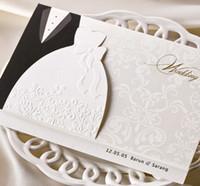 convites de casamento de cartão preto venda por atacado-Os amantes pretos brancos Por atacado-Simples que Wedding convites cardam com envelopes e selos, impressão livre