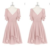 Wholesale Wedding Gown Flutter Sleeves - 2018 Summer Pink Short A Line Bridesmaid Dresses with Flutter Sleeves V Neck Beach Chiffon Cheap Wedding Party Dresses Maid of Honor Gown