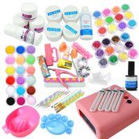 Wholesale liquid gel nail kits - Wholesale- 36w uv pink lamp Timer manicure set Nail Art UV Gel Kits sets Tools Brush Tips Glue Acrylic Powder Liquid nail Art Set