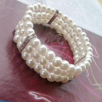 Wholesale Elastic Pearl Ring - Hot Sale Three Layer Elastic Pearl Bead Bracelet Fashion Pearl Jewelry For Women Party Gift
