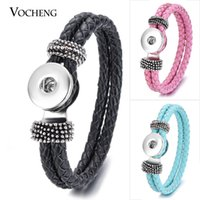 Wholesale Leather Braid Silver Bracelet - VOCHENG NOOSA Leather Bracelet Ginger Snap Jewelry 14 Colors Double Braided Vb-013