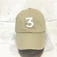 Wholesale Cotton Khaki Baseball Caps - Free shipping Chance 3 the rapper caps Streetwear kanye west dad cap letter Baseball Cap coloring Book 6 panel Yeezus god hats for men women