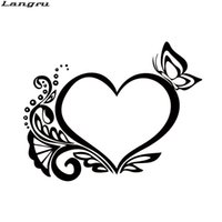 Wholesale Flower Decals Cars - Hot Product For Retro Heart Butterfly Flower Car Sticker Interesting Car Styling Vinyl Decals Accessories Decorate JDM