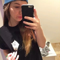 Wholesale Fitted T S - ZSIIBO Fashion Funny Cheap Cat women's Pocket Cat T-Shirts Casual Clothing Short Sleeve T shirt Female Loose Fit Tops Hip Hop NV09 RF