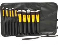 Wholesale Design Order Bag - 10pcs makeup brushes ,Powder brush pack in leather bag ,10 functiion design 5 colors 50pcs accept OEM order