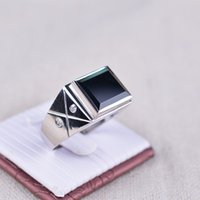 Wholesale Blue Sapphire Ring 925 Silver - Vintage man sapphire ring 10*13mm natural dark blue square cut sapphire 925 solid sterling classic man silver ring gift for father's day