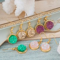 Wholesale Handmade Gold Plated Earrings - DoreenBeads Handmade Resin Druzy  Drusy Earrings Gold Plated Color & Golden Pink Purple Round 34mm(1 3 8