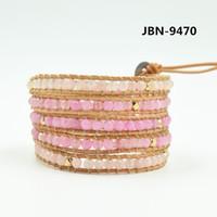 Wholesale pink hand cuffs - Wholesale- Hand-woven Natural pink Stone Wrapped Bracelet Men Women Lady Unisex Gift Drop Shipping Bijoux JBN-9470