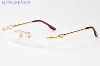 Wholesale Eyeglasses Frame Men Rimless - 2017 men buffalo horn sunglasses Rimless clear lens glasses women frames gold silver alloy metal frame eyeglasses gafas 52-18-140mm