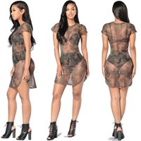 Wholesale Net Sheer Sleeve Dresses - 2017 new fashion women camouflage round neck net yarn in the waist sexy perspective short-sleeved high fork dress S-XL