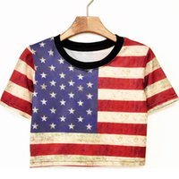 Wholesale Uk Flag T - Wholesale- Hot-selling New preppy style HARAJUKU t shirts street all-match sexy Print Punk crop top American UK Flag skulls